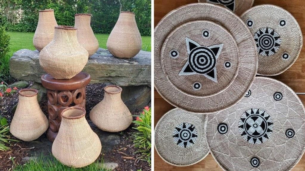 Handmade baskets by African artisans.