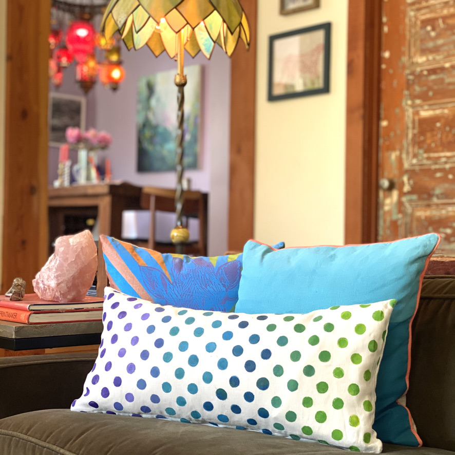 Throw pillows designed by Sue Henry of Tulusa