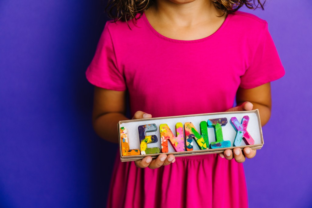 Personalized name crayons by Nicole Lewis of Art 2 the Extreme, courtesy of Nicole Lewis. Photo Credit: Qiana K Photography.