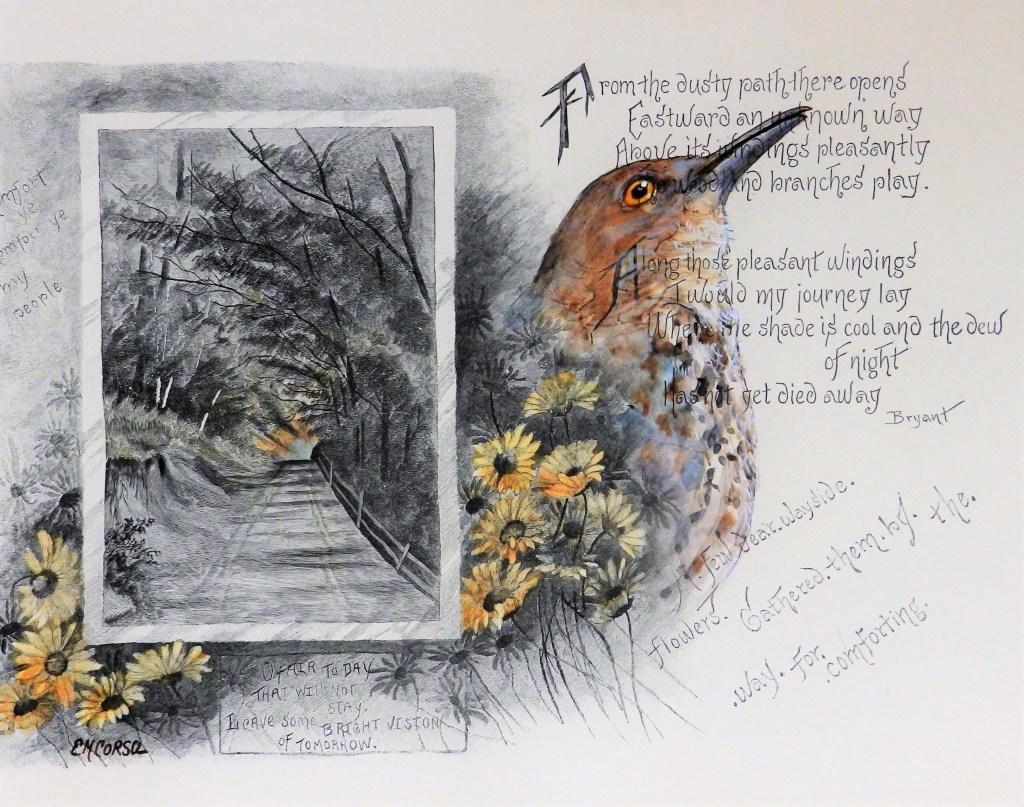 Original artwork by E.M. Corsa of a thrasher on an antique postcard.