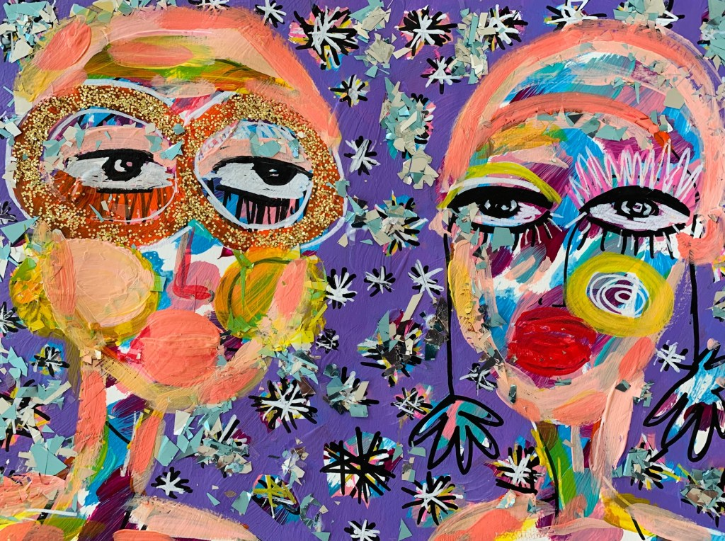 Acrylic painting of two women by Jaclyn Altieri