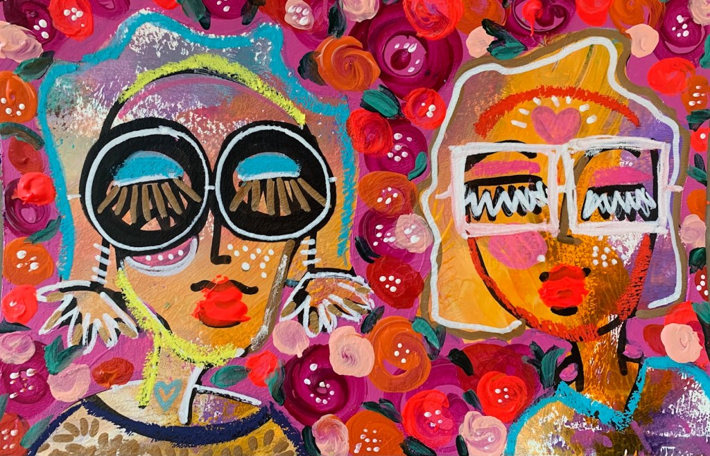 Acrylic painting of two females by Jaclyn Altieri