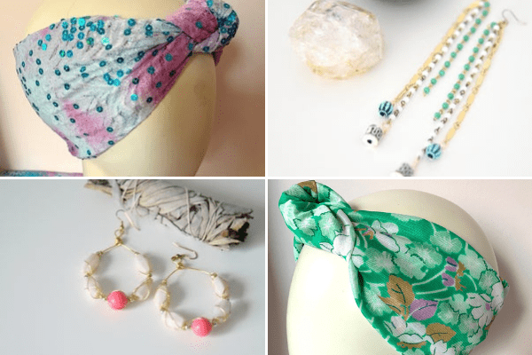 Collage of two headbands and two pairs of earrings by Jaclyn Altieri.