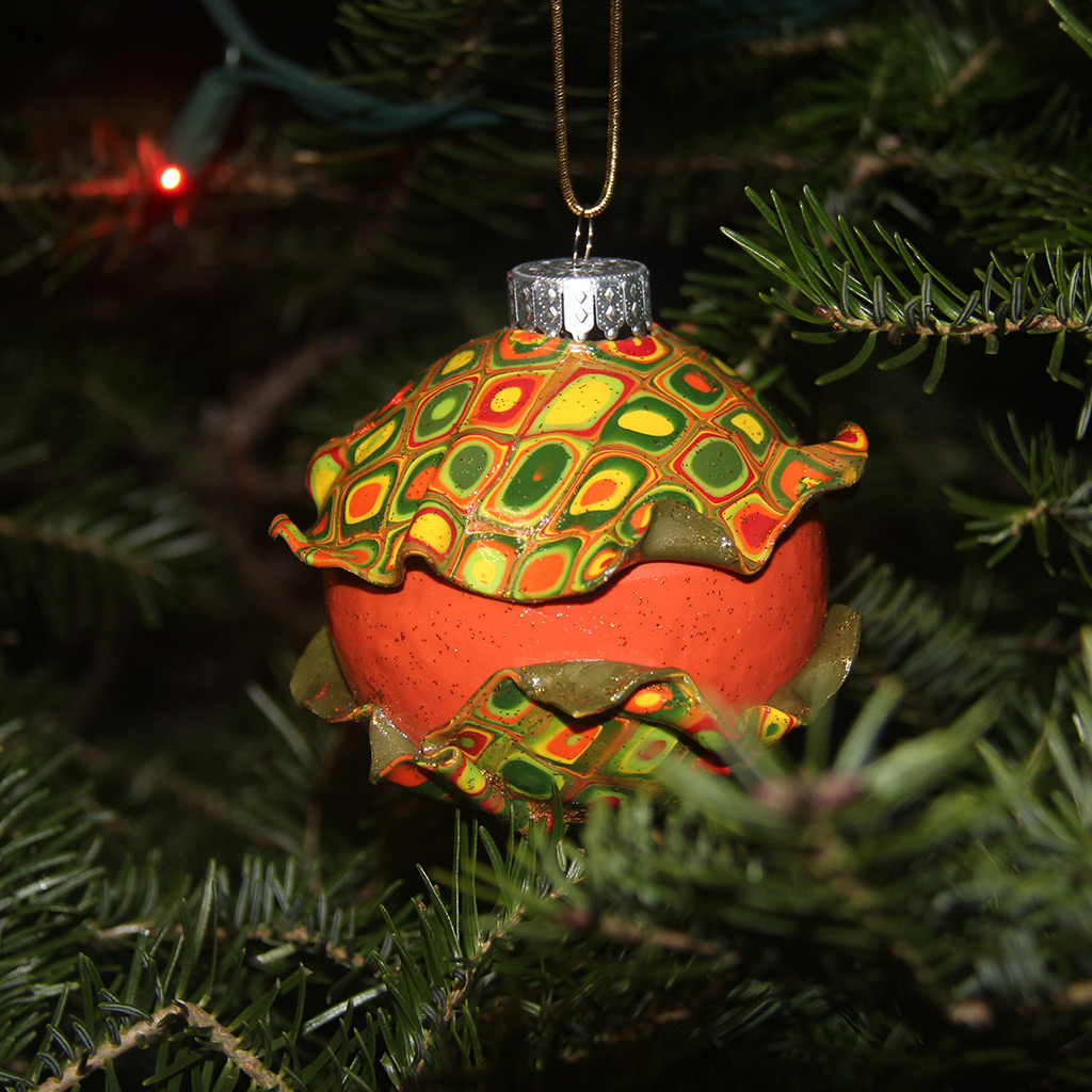 One of Yuliya Shulman's colorful Christmas ornaments made from polymer clay.