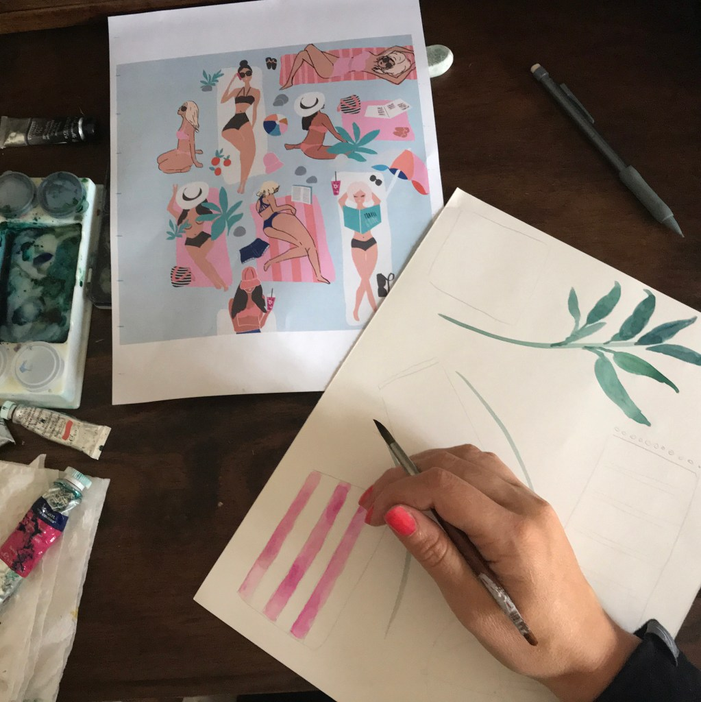 Illustrations of women in bikini bathing suits sunbathing. Some are laying down. Others are sitting. This photo shows the hand of Crystal Walen. It's a behind-the-scenes look at her artistic process. illustrated by Crystal Walen.