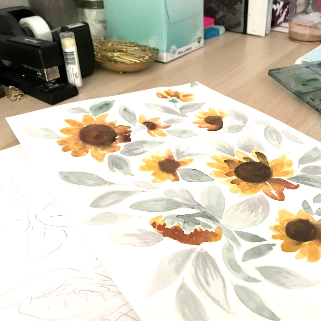 Freehand watercolor work of sunflowers by Crystal Walen. Photo courtesy of Crystal Walen.