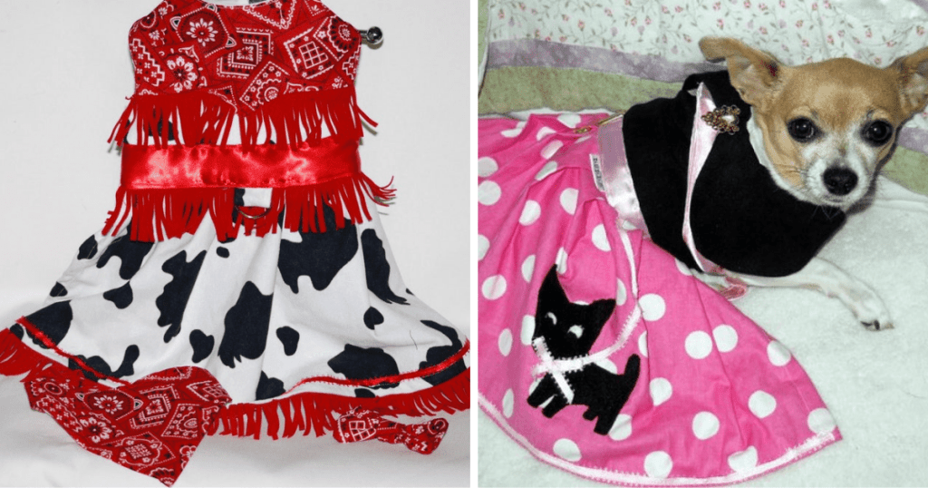 Let photo is of a black, white and red cowgirl costume for pets and the right is of a small dog in a 1950s inspired poodle skirt.