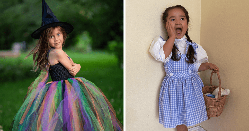 Young girl in a witch costume by Fuzzy Duckling Designs. The bodice of her tutu gown is black and the bottom is also black and features green, purple and orange tule.  The right photo is of a young girl in a blue and white gingham dress and white shirt inspired by the outfit Dorothy wears in the Wizard of Oz. The costume was made by Wren Amber.
