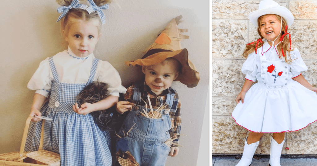 Costumes by Amber of Wren Amber. A little boy and girl is shown. The girl wearing a blue and white gingham dress, inspired by the Dorothy character in The WIzard of Oz. The second photo is of a blonde-haired child wearing her hair in pigtails and a cowgirl outfit.