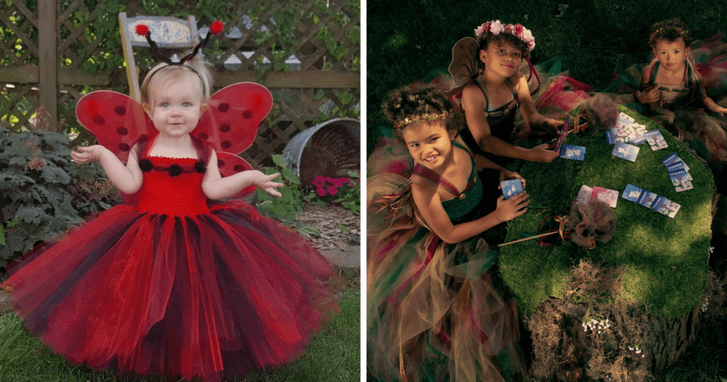 Image features two photos. The left one is of a toddler with blonde hair in  a ladybug costume by Lisa Garcia of Fuzzy Duckling Designs, It is red tutu dress with red wings with black spots and a ladybug antenna headband. The photo to the right features three girls in fairy costumes, also designed by Lisa.