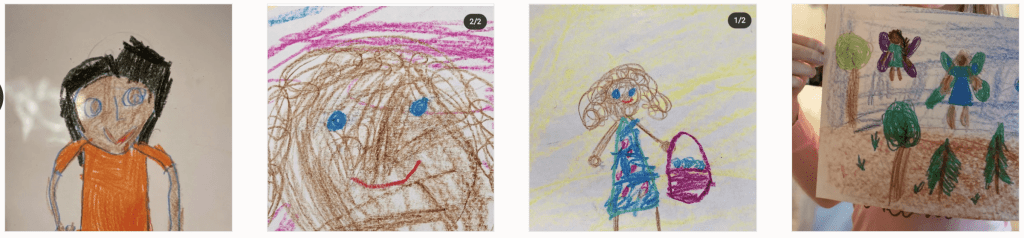 Screenshot of real  artwork by children incorporating All of Us Crayons in their drawings..