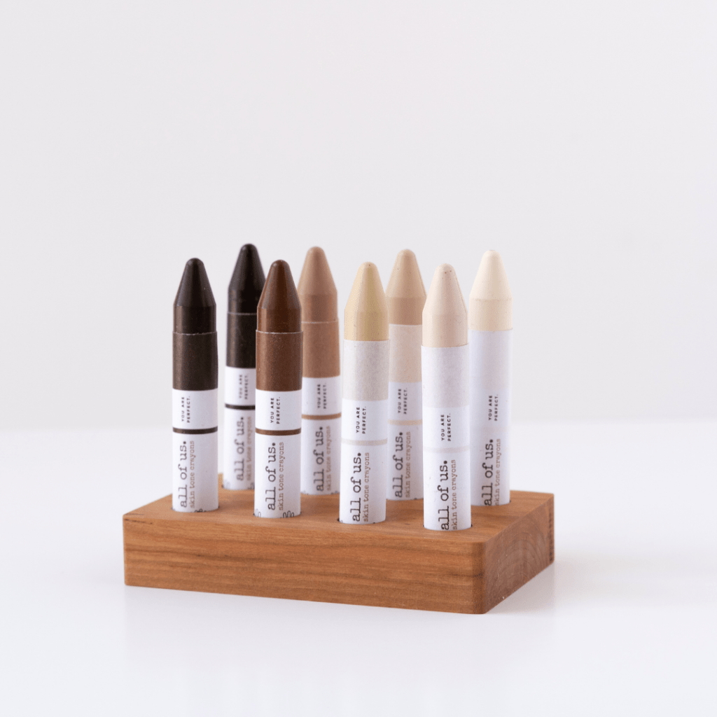 Photo of 8 skin tone crayons by All of Us Crayons.